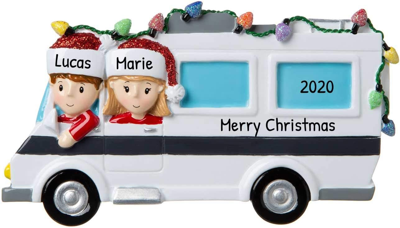 Personalized RV Family of 2 Christmas Tree Ornament 2020 - Camper Couple Friend Ride Together Recreational Vehicle Trail Away Hobby Motor-Home Birthday Holiday Tradition Year - Free Customization