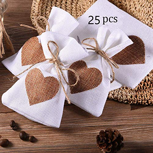 ToBeIT Burlap Gift Bags with Drawstring for Wedding Party Favors Craft Jute Sacks Project Jewelry Pouches (White 25(Coffee Heart))