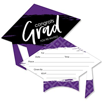 Purple Grad Best Is Yet To Come Shaped Fill In Invitations Purple Graduation Party Invitation