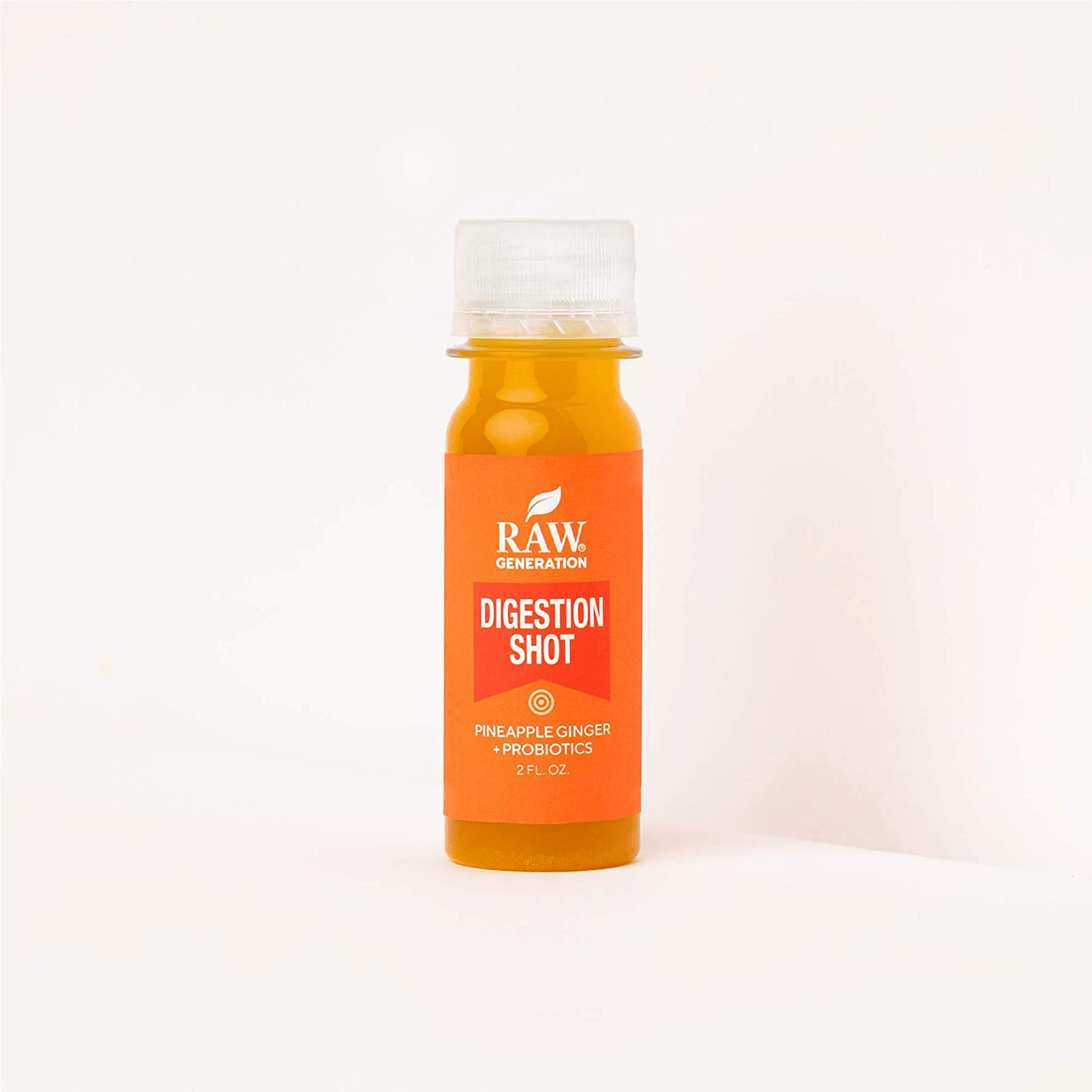 Raw Generation® Wellness Digestion Shot - Anti-inflammatory Enzymes to Boost Digestion / 20 Billion Active Probiotic Cells (20 Count Shots)