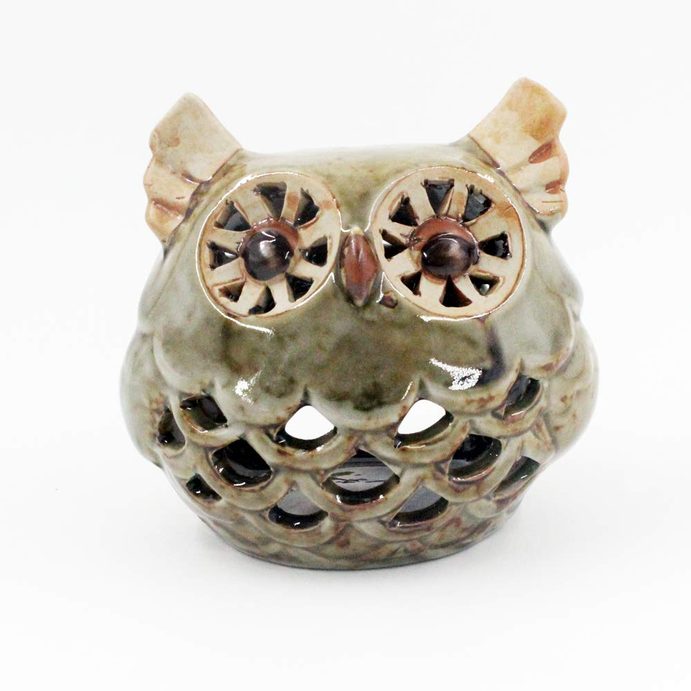 Better-way Home Decorative Owl Animal Ceramic Aromatherapy Burner, Essential Oil Warmer, Tealight Candle Holder Bedroom Decorations Housewarming Gifts (Green Owl)