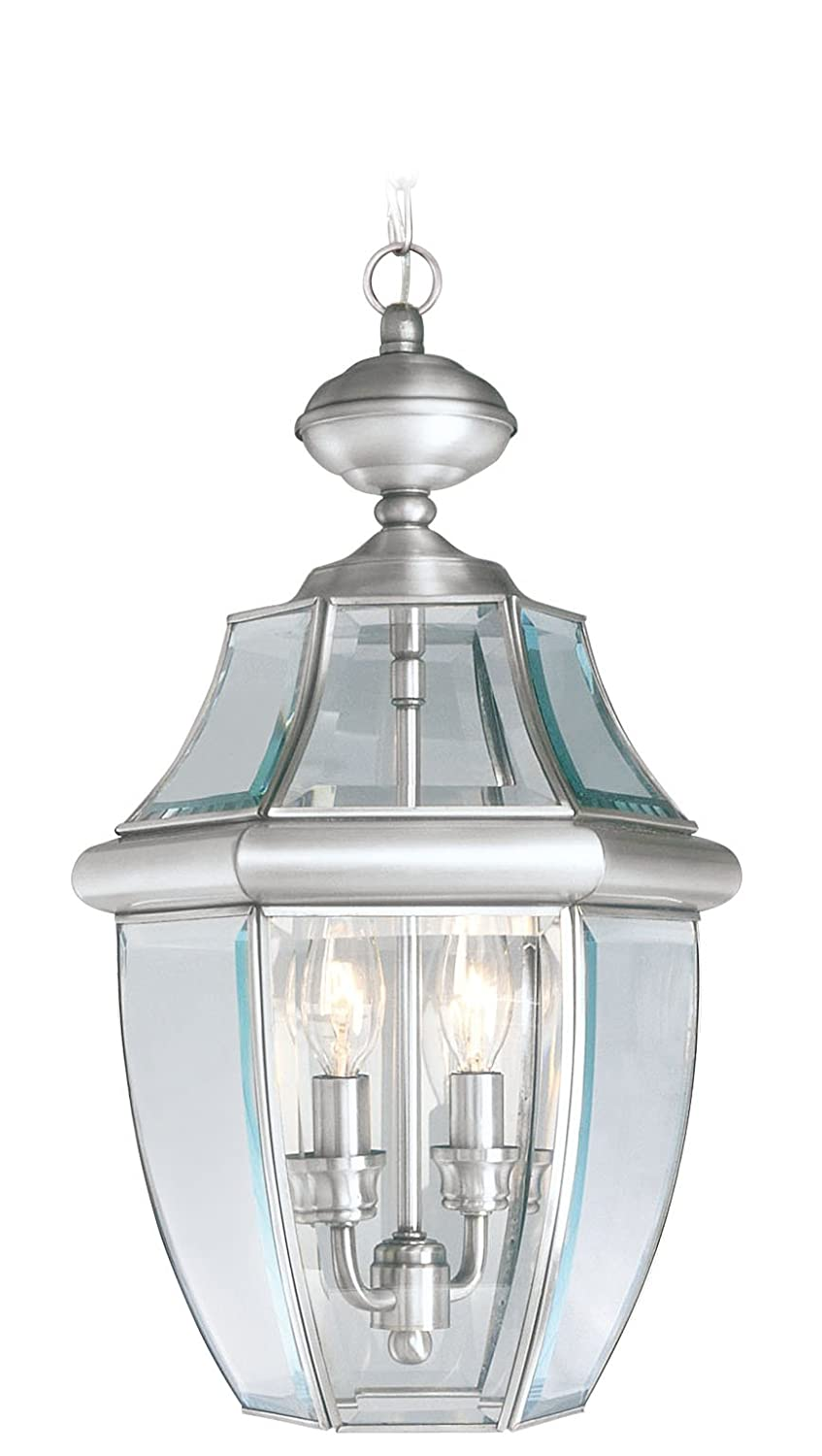 Livex lighting 2255 91 monterey 2 light outdoor brushed nickel livex lighting 2255 91 monterey 2 light outdoor brushed nickel finish solid brass hanging lantern with clear beveled glass pendant porch lights amazon aloadofball Choice Image