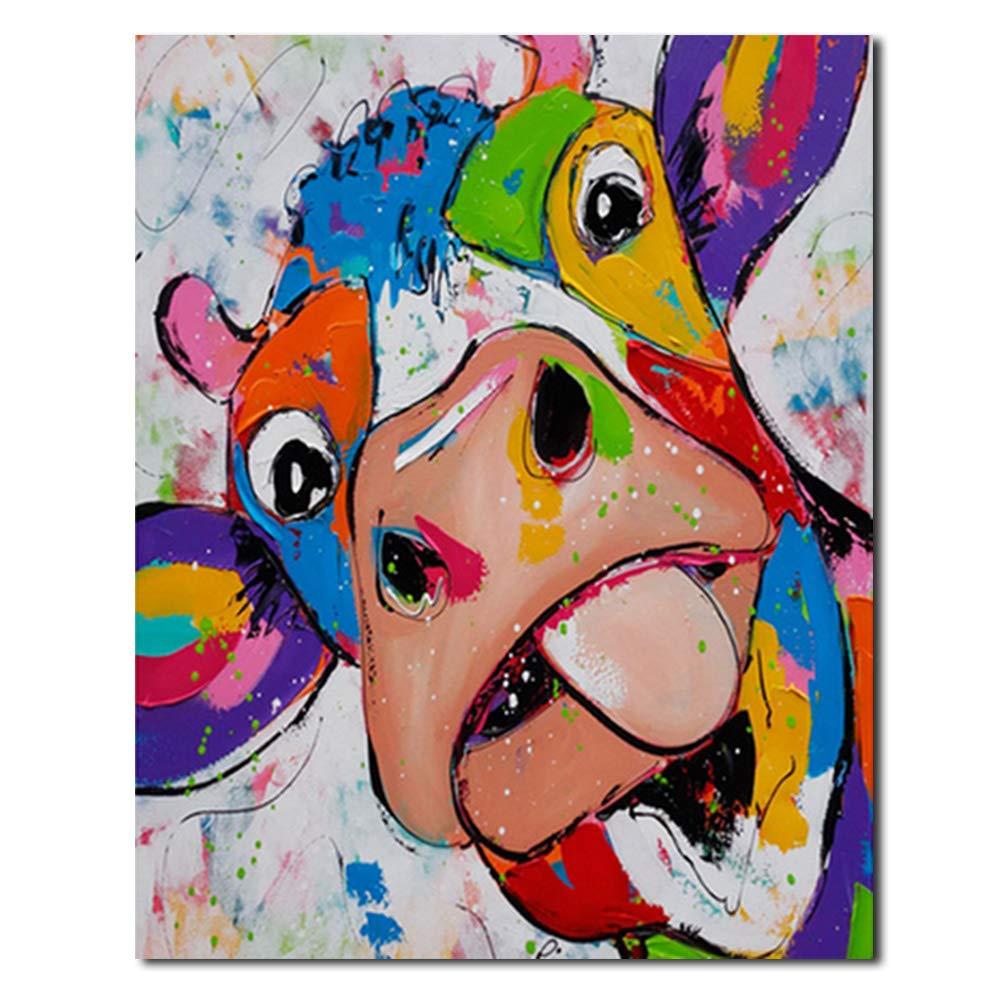 1# DIY /Ölgem/älde Zeichnung Grau Hirschkopf Leinwand mit Pinsel Dekor Dekorationen Geschenke Geeignet f/ür Wohnzimmer Schlafzimmer Gr/ö/ße 16 20 Zoll Lecimo Malen nach Zahlen Kit