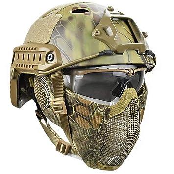 QZY Casco Protector Airsoft Paintball, Cascos Tácticos con Máscara De Malla De Acero Juego CS