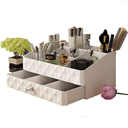 Superieur Cosmetic Organizer Tray In White Makeup Holder Display Storage Box With  Jewelry Drawer For Bathroom Vanity