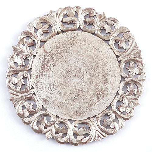 GILDED ROUND CHARGER, ANTIQUE SILVER