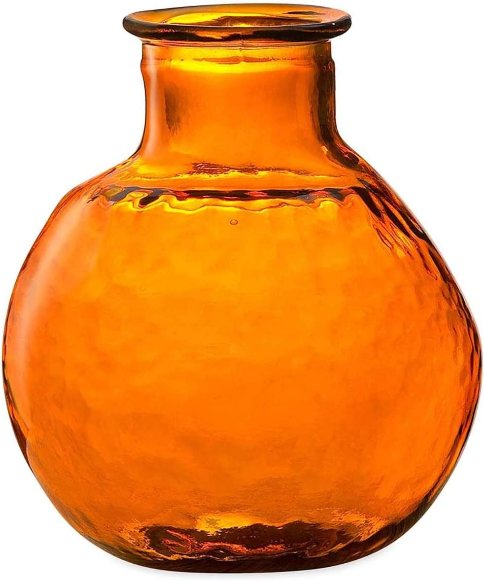 Viva Terra Oval Recycled Glass Balloon Vase, 10 Dia x 12 H – Orange