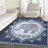 Ethnic Rug Kid Carpet Bohemian Elephant Figure with Gypsy Inspirations Spiritual Oriental Figures Graphic Home Decor Foor Carpe 2'x3' Navy Blue