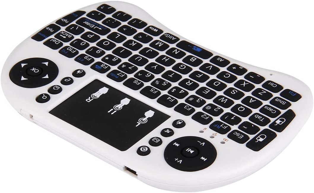 White HUFAN I8 2.4GHz Fly Air Mouse Wireless Mini Keyboard with Embedded USB Receiver for Android TV Box//PC