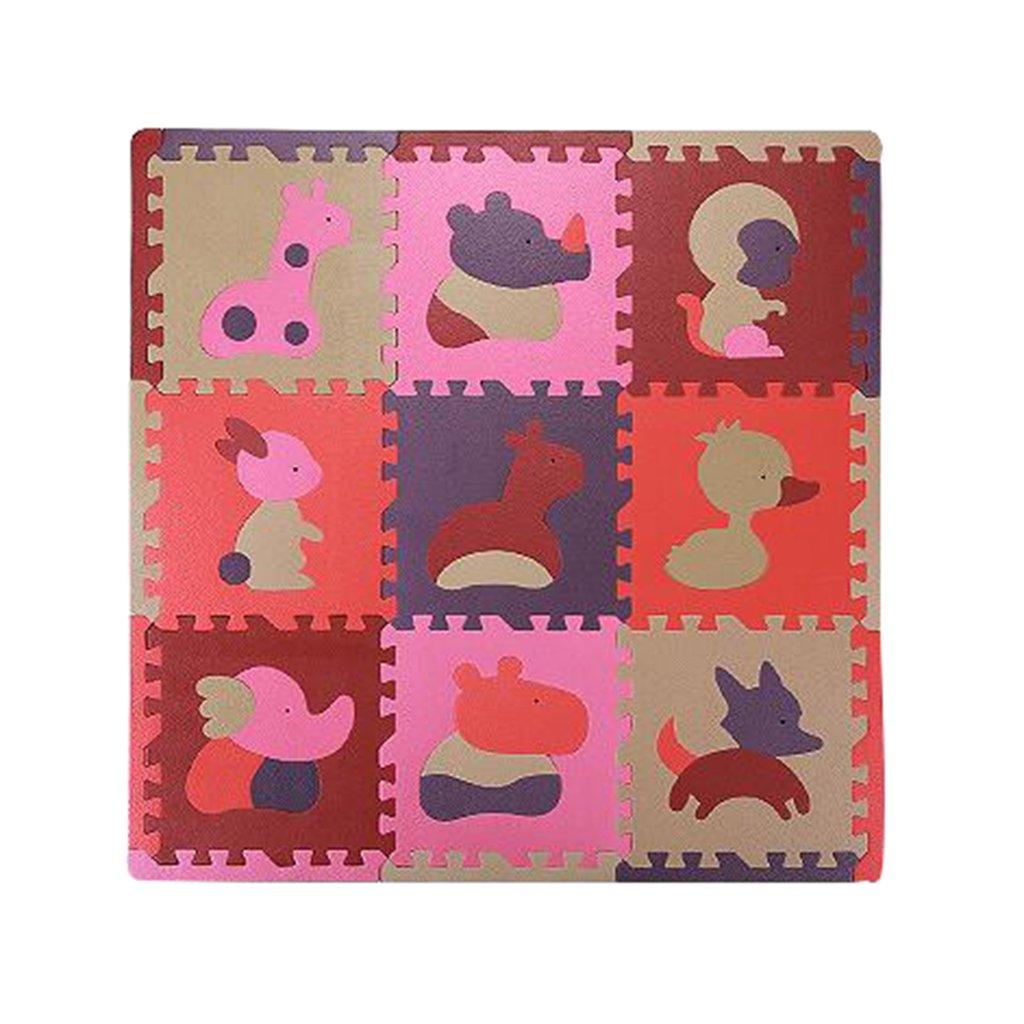 SIMPVALE 9 Pcs Bébé Tapis de Jeu Puzzle Animaux Tapis de Jeu EVA Enfant Aire de Jeux Mats Yoga D'exercice (30x30x1.3cm/11.8x11.8x0.5, 001#) EEN06400RE