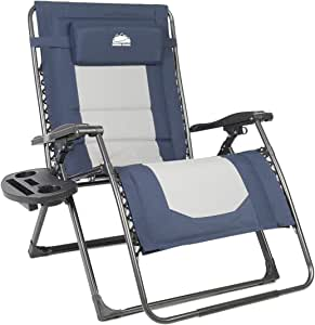 Coastrail Outdoor Oversized Zero Gravity Chair Padded XXL Folding Patio Lounge Adjustable Recliner with Cup Holder & Side Table, 500lbs Weight Capacity, Blue&Gray