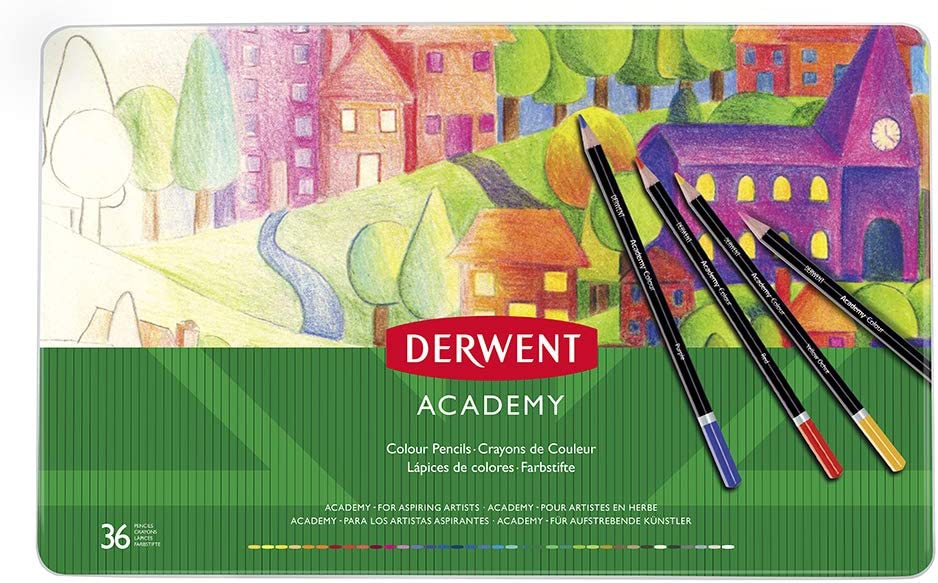 Adult Colouring Derwent Academy Colour Pencils 12 Colour Carton Box