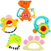 iPlay, iLearn 5 Dinosaur Baby Rattles, Teether, Shaker, Grab and Spin Rattle, Musical Toy Set, Early Educational Toys…