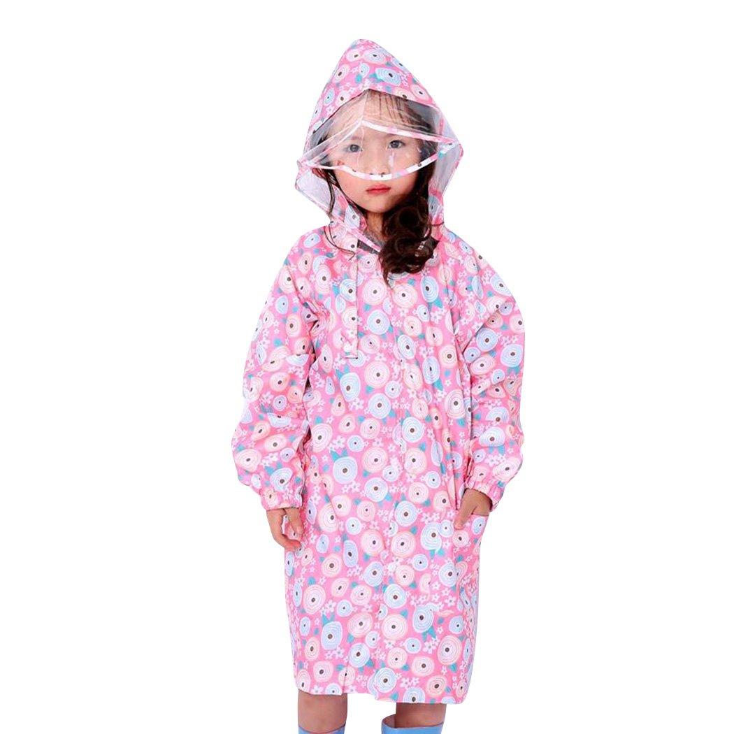 Kids Peony Print Hooded Waterproof Raincoat Rain Coats/Jacket for Girls for Boy Pink