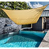 Outsunny Rectangle 20'x 16' Sun Shade Sail Top Cover Fabric Outdoor Shelter Backyard Window Garden Sand +Carrying bag