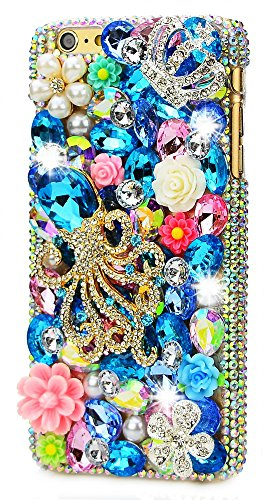 Case Crystal Generation Rubber (STENES iPod Touch 5/6th Case - [Luxurious Series] 3D Handmade Shiny Crystal Sparkle Bling Case With Retro Bowknot Anti Dust Plug - Crystal Crown Blue Rhinestone Octopus Flowers/Navy Blue)