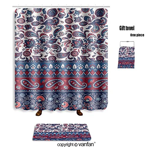 vanfan bath sets with Polyester rugs and shower curtain striped seamless pattern floral wallpaper col shower curtains sets bathroom 60 x 78 inches&23.6 x 15.7 inches(Free 1 towel and 12 hooks) Cola Rug Rug