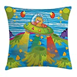 Queen Area Outer Space Decor For Kids Scary Monster in Ufo on Planet Solar System Galaxy Funky Back Square Throw Pillow Covers Cushion Case for Sofa Bedroom Car 18x18 Inch, Green Blue