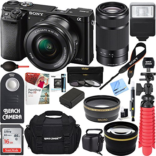 Professional Sony Alpha Dslr (Sony Alpha a6000 24.3MP Mirrorless Camera 16-50mm & 55-210mm Zoom Lens (Black) + 16GB Accessory Bundle + Large Gadget Bag + Extra Battery+Wide Angle Lens+2x Telephoto Lens+Flash+Remote+Tripod)