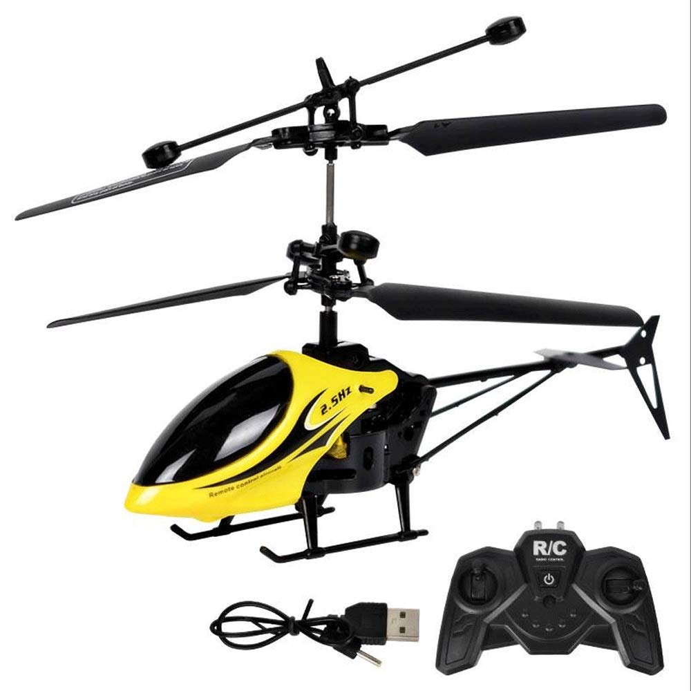 Zenghh Remote Control Helicopter Long-Distance Aircraft Toy Multiplayer Game Boy Boy New Charging and LED Lights Outdoor Anti-Collision Shake Air Model Oversized Preferred Gift ( Color : Yellow )