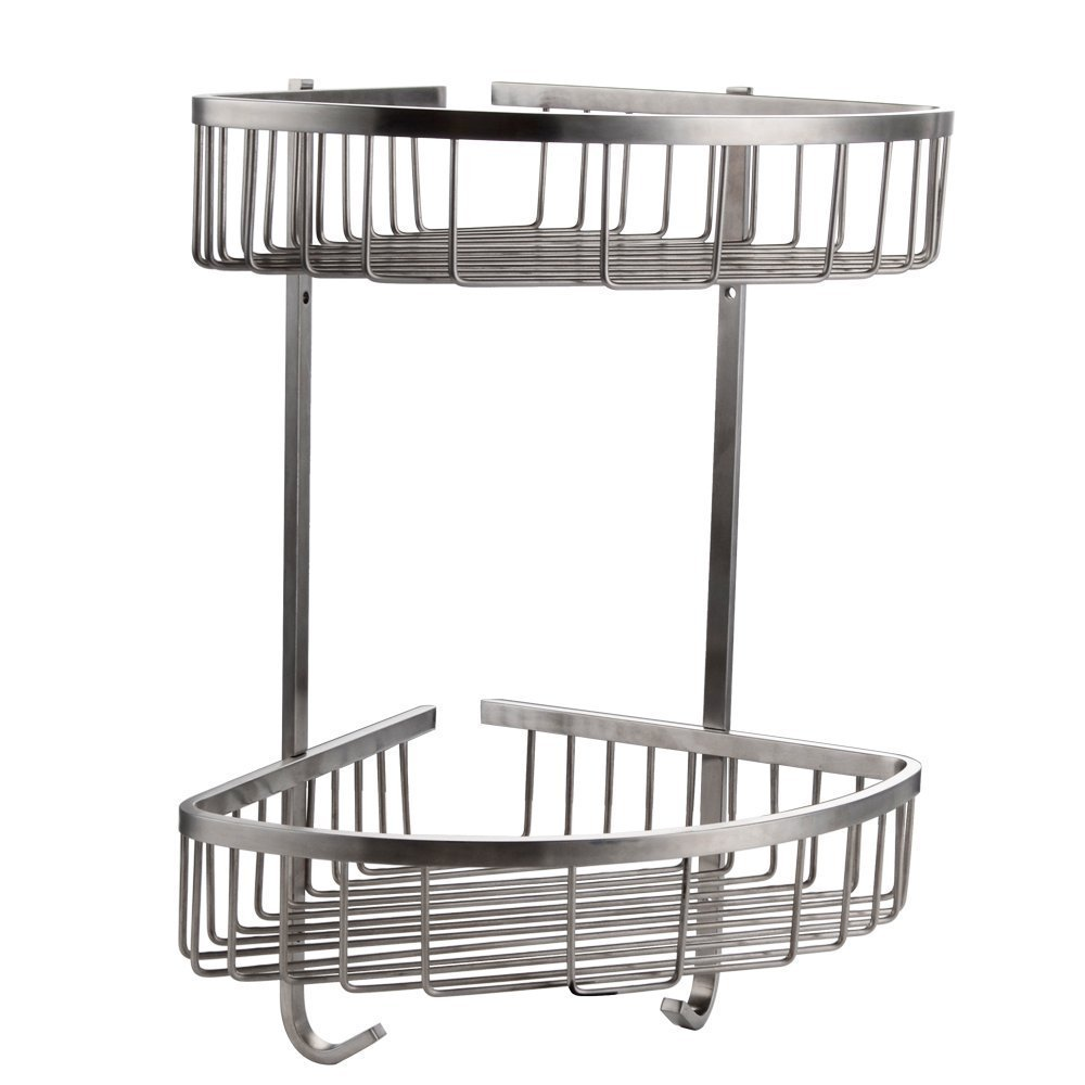 tension with caddies steel p glacier caddy shelf bay pole shower stainless in
