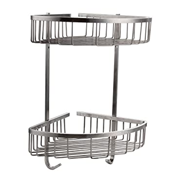 Konhard CS002 Solid Stainless Steel Bathroom Shower Caddy 2 Tier Wall Mount,  Brushed Steel