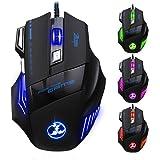 [5500 DPI Souris de Jeu LED Optique] VicTsing Zelotes 7 Boutons Souris Gaming Filaire Profesionnel Gaming Mouse USB avec 5 Niveux DPI Réglable Souris Filaire pour Pro Gamer