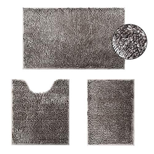 HOMEIDEAS Velvety-Soft Butter Chenille Bathroom Rugs Set 3 Pieces Taupe Grey, 3X Absorbent Spa Shaggy Bath Rug Non Slip…