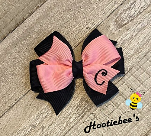 Pink and Navy Blue Toddler Monogram Hair Bow
