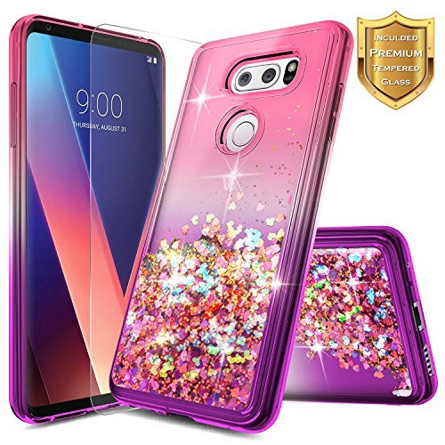 NageBee Glitter Case Compatible with LG V30 / V30 Plus / V30S ThinQ / V35 ThinQ w/[Screen Protector HD Clear] Liquid Quicksand Waterfall Floating Flowing Sparkle Shiny Bling Girls Cute Case -Pink