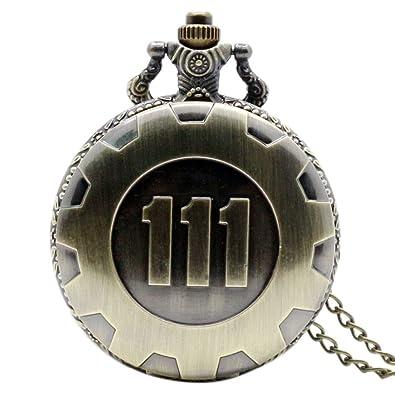 Amazon.com: Reloj de bolsillo con cadena, de bronce y cuarzo ...
