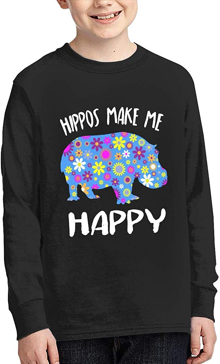 Teenagers Teen Boy Hippos Make Me Happy Printed Long Sleeve 100/% Cotton Clothes