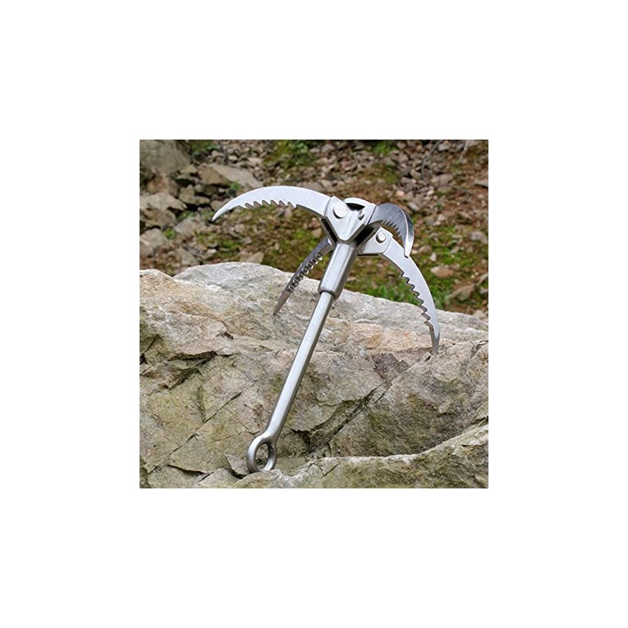 Handmade Outdoor Survival Grappling Hook Carabiner Climbing Folding 4 Claws Multifunctional Stainless Steel Gear,Small and Survival Tool,Load 400kg