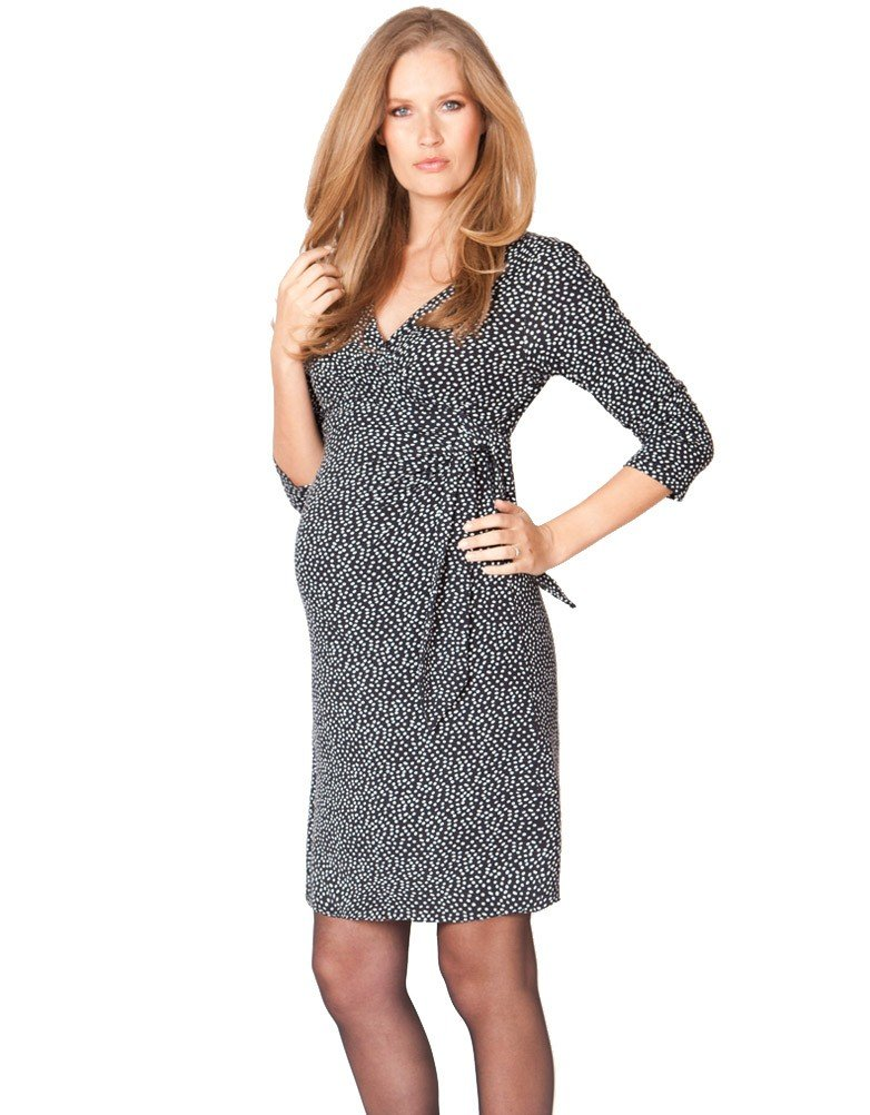 Seraphine 3/4 Sleeve Renata Faux Wrap Maternity Nursing Dress - Navy Dot - 10 by Seraphine