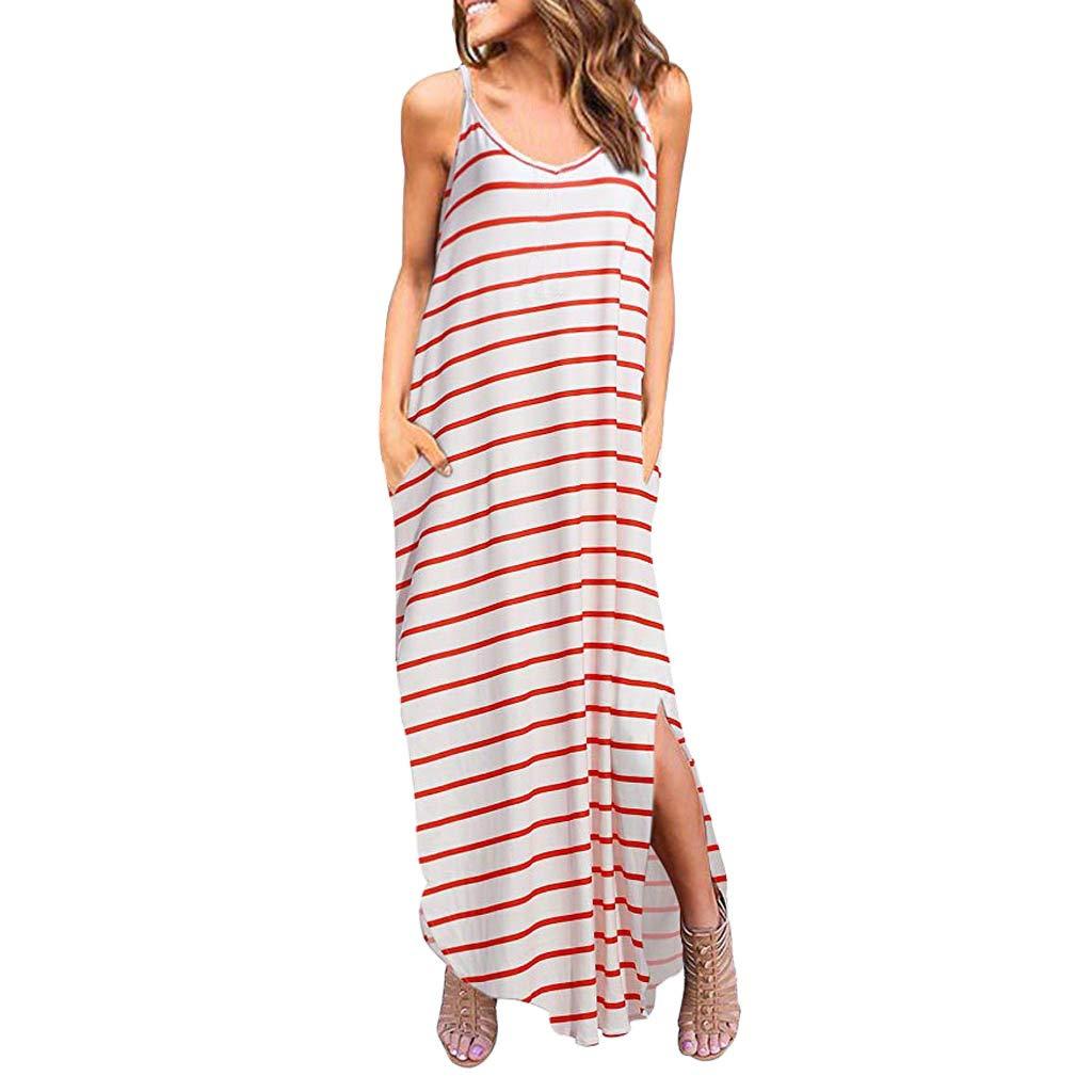 ZOMUSAR 2019 Women Summer Casual Pockets Strappy Long Dress Beach Cami Split Maxi Dress Red