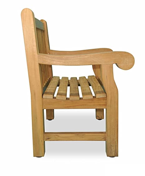 """Eco-Friendly Furnishings 37.5"""" Natural Teak Outdoor Patio Hyde Park  Wooden Chair ... - Amazon.com : Eco-Friendly Furnishings 37.5"""