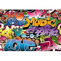 KonPon 5x7ft Silk Cloth Graffiti Photography Backdrops Photo Props Studio Background KP-039