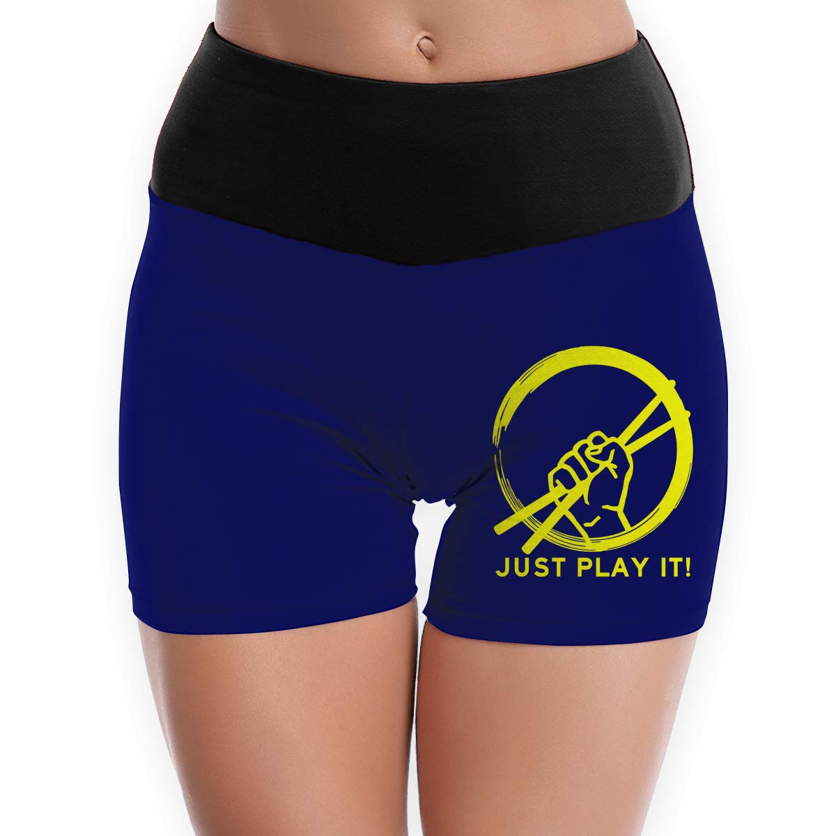 JUST Play IT Drumsticks Drummer Funny Adult Womens Yoga Running Hot Shorts Pants
