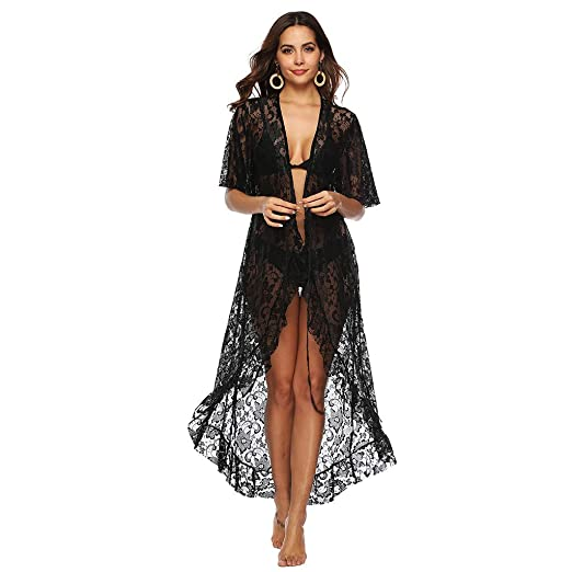 f6a97b9fc2a Image Unavailable. Image not available for. Color: Women Dress Sexy Women's Floral  Crochet Lace Beach Swimsuit Cover Ups Long Vintage Kimono Cardigan Black