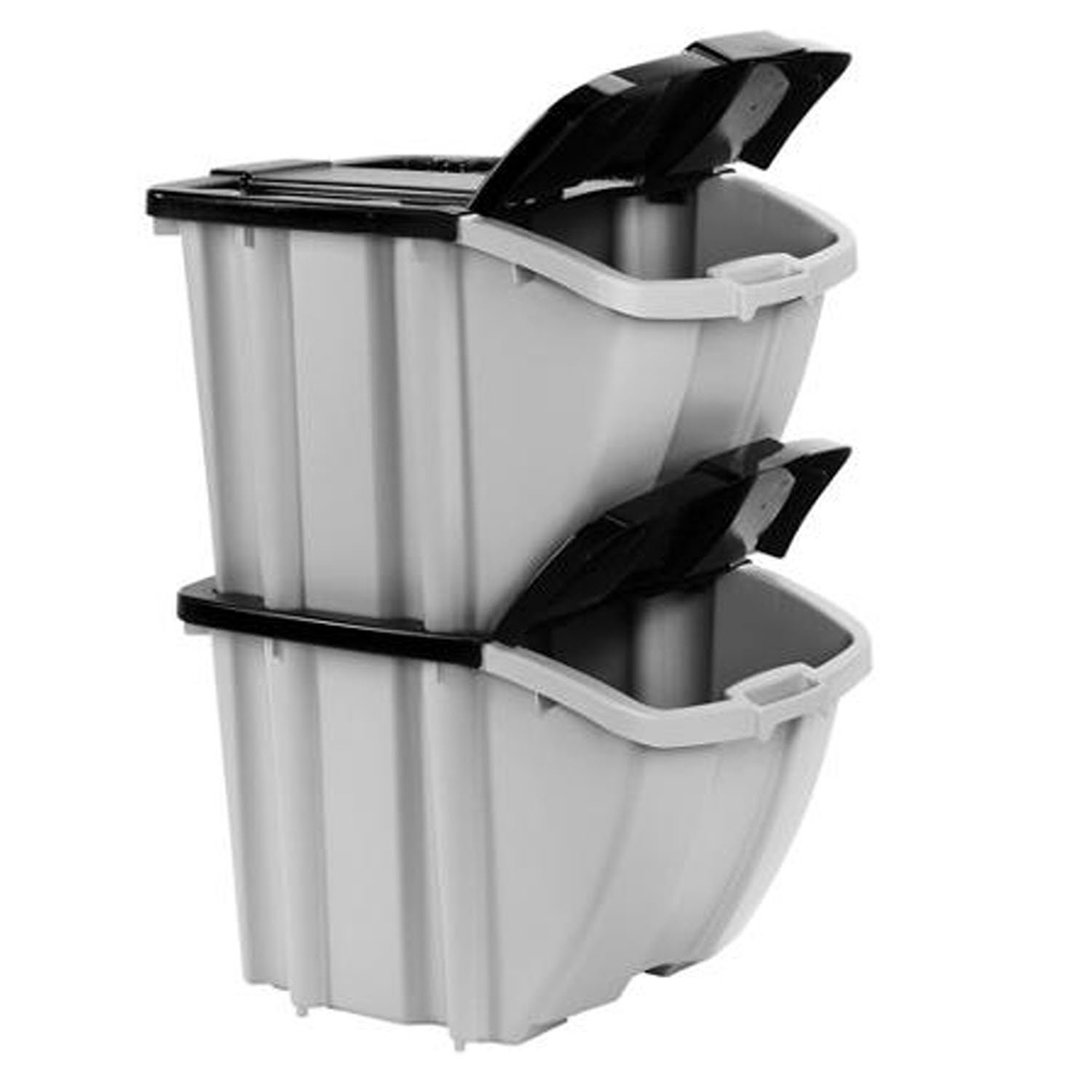 Amazon.com: Suncast Stacking Recycling Bins 2 Bin Value Pack ...