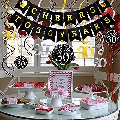 Konsait Decoración Cumpleaños 30 Años Kit, Bandera ...