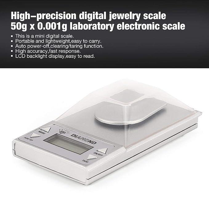Lorenlli Báscula digital de alta precisión para joyería digital 50g x 0.001gLCD balanza dorada de laboratorio retroiluminación azul: Amazon.es: Hogar