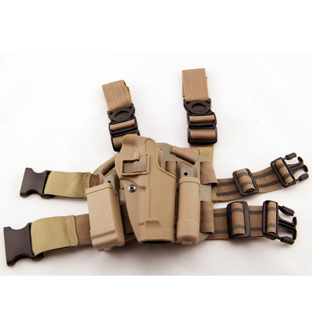 LIVIQILY Tactical Glock Leg Holster Right Hand Paddle Thigh Belt Drop Pistol Gun Holster w/Magazine Torch Pouch for Glock 17 19 22 23 31 32 (Tan) by LIVIQILY