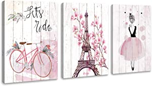 Paris Eiffel Tower Wall Decor Bicycle for Girls Bedroom Pink Paris Room Decor Paris Bathroom Wall Decor Modern Home Art Artwork for Walls Canvas Framed Wall Decoration Size 12x16 Each Panel