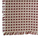 70 x 120 (Rectangle) Homespun Tablecloth, Hand Loomed, 100% Cotton, Stone/Cranberry