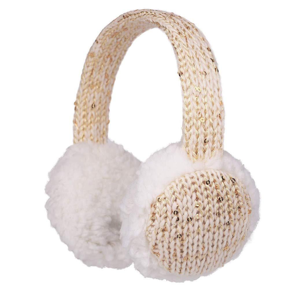 Baby Childs Cartoon Earmuffs.ZYooh Kintting Classic Warm Foldable Earmuffs with Fur Earwarmer Outdoor Earmuffs Headwear (Beige)