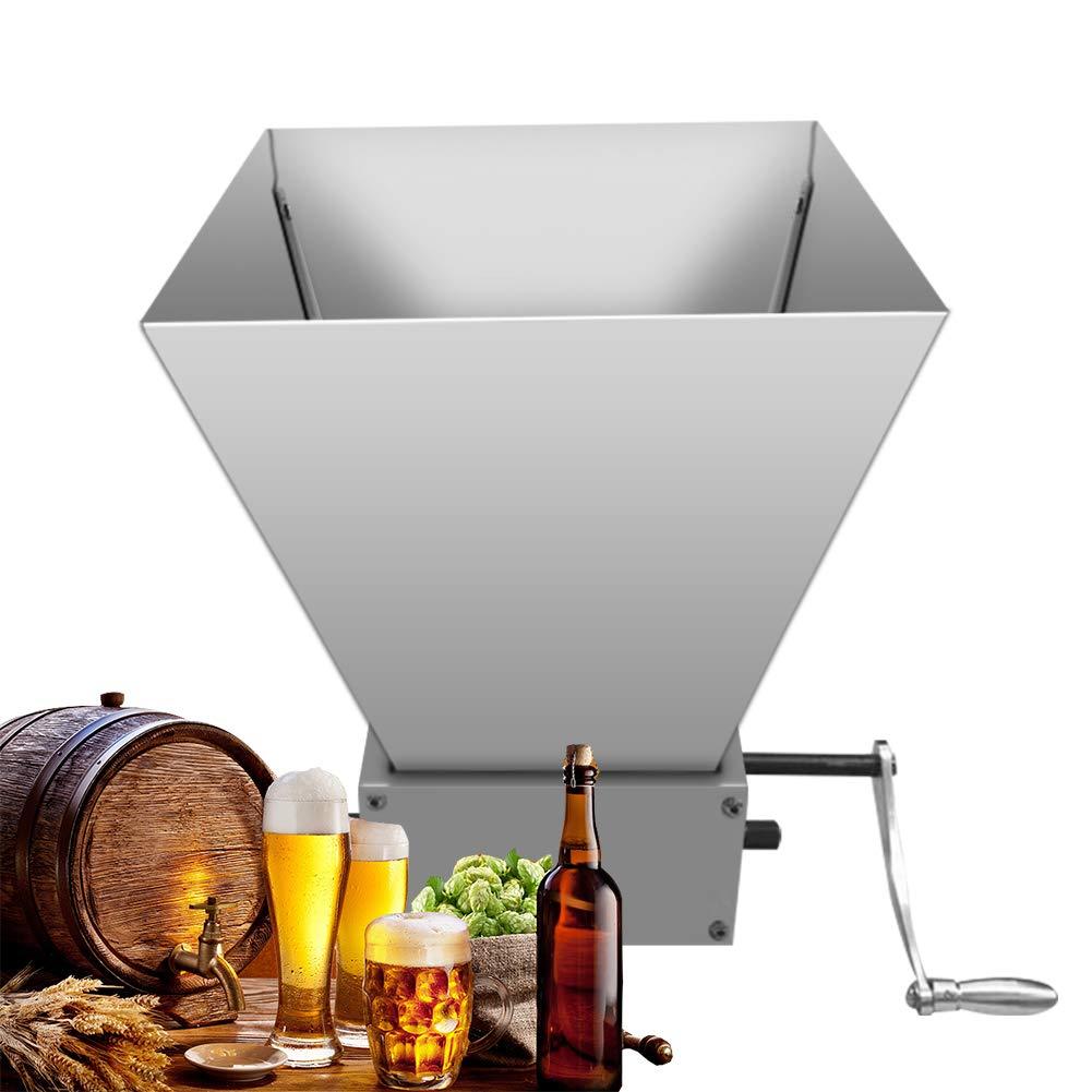 Grain Mill Homebrew,Hand Crank Grinder Grain Mills Manual Grain Granulator Machine with 2 Stainless Steel Roller Grain Crusher Brewing