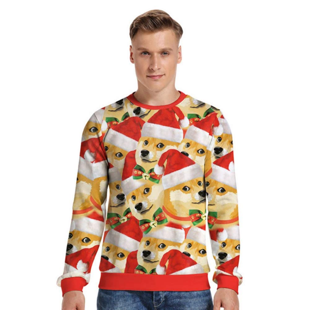 filear Men Women Ugly Christmas Sweater Spoof 3D Pullover Sweatshirts Crewneck Sweaters Funny Graphic for Xmas Holiday Party