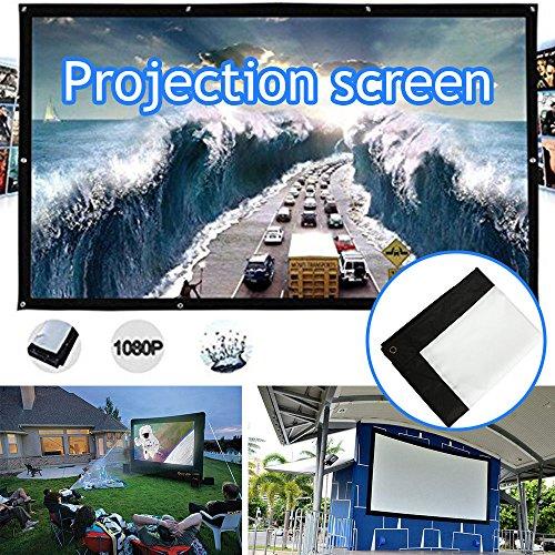Hongfei Indoor Outdoor Portable Movie Screen, Foldable 4:3 HD Display 120...