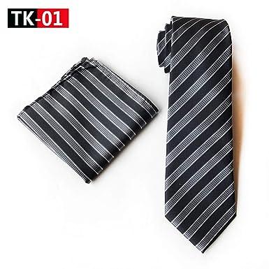CDBGPZLD Conjunto de pañuelo de rayas gris plateado Corbatas de ...
